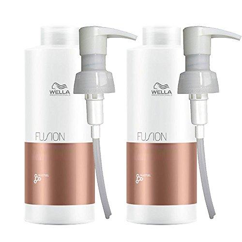 Wella Fusion Intense Repair Shampoo 1000ml und Pflegespülung 1000ml, mit Pumpen
