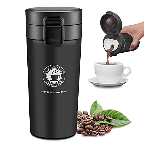 JEEZAO Tazza Termica Viaggio caffè Thermo Bottiglia Acqua, Borraccia Acciaio Inox,Senza BPA,380ml