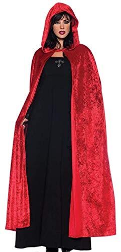 KIRALOVE Capa de Vampiro - drcula roja con Capucha - Adultos - Largo - Terciopelo - Chenilla - Nosferatu - Disfraz - Carnaval - Halloween - Cosplay - Hombre - Mujer Cosplay