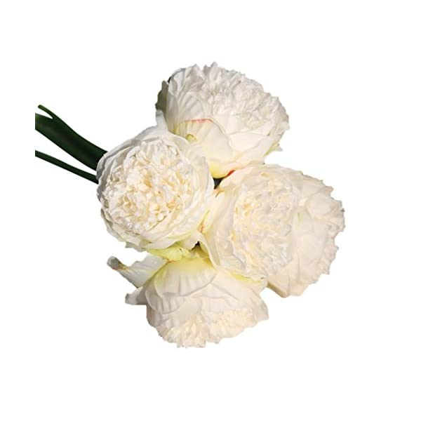 Fake Flowers Vintage Artificial Peony Silk Flowers Wedding Bridal Bouquet Party Home Decoration in Pots Vase for Desk Table