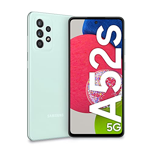 Samsung Galaxy A52s 5G Smartphone, Display Infinity-O FHD+ da 6,5 pollici, 6GB RAM e 128GB di memoria interna espandibile, Batteria 4.500 mAh e Ricarica Ultra-Rapida Green [Versione Italiana]