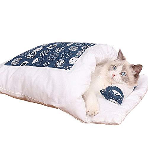Carolilly Cueva de peluche para gatos, con dibujos animados, cama para dormir para gatos y perros pequeños, saco de dormir, suave y esponjosa azul B M