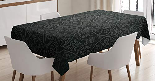 Ambesonne Damask Tablecloth, Antique Baroque Pattern with Mild Ombre Shade Gothic Victorian Style, Dining Room Kitchen Rectangular Table Cover, 60' X 84', Charcoal Grey