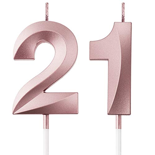 BBTO 21st Birthday Candles Cake Numeral Candles Happy Birthday Cake Topper Decoration for Birthday Party Wedding Anniversary Celebration Supplies, Rose Gold