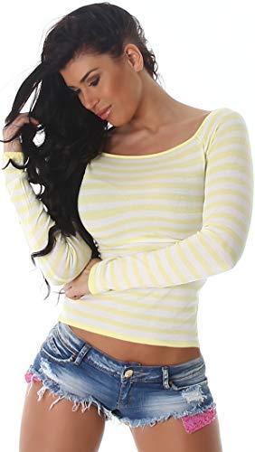 Jela London Damen Kurzer Pullover Stretch Feinripp Streifen Eckiger Ausschnitt Langarm Slim-fit Skinny Pulli, Gelb 34 36 38