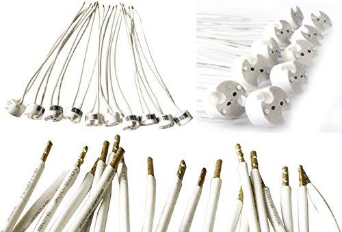Feinlux® 10 Stück universal Lampen Fassung Sockel Adapter Halterung für 12V Lampen G4 / MR16 / GU5,3 / MR11 / GU4 mit Anschlusskabel vorgelötet