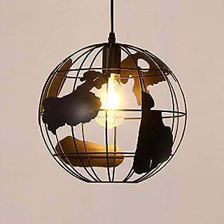 Lámpara Colgante E27 Moderno Globo Lámpara de Techo Hierro LED Colgante de Luz Retro para Comedor Cocina Bar Cafetería Dormitorio Sala de Estar, Negro