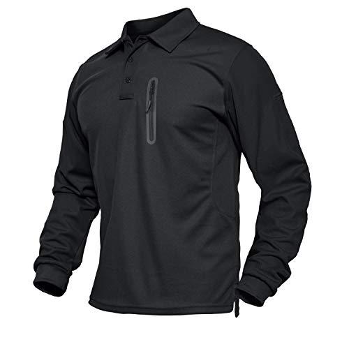 TACVASEN T-Shirt Tactique à Manches Longues pour Homme XL Noir