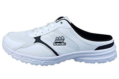 LEKANN 304 Damen Herren Sabots Pantoletten Slipper Clogs Sneaker, Weiß Gr. 44 EU