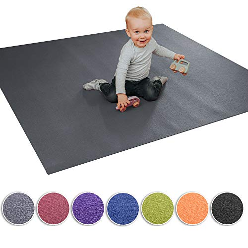 Wunschkind® Krabbelmatte | Krabbelunterlage | Made in Germany | Anti-Rutsch | Öko-Tex 100 | 120x120cm Grau