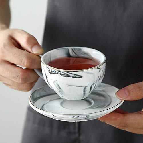 GFHTH Kreative Marmor Keramik Tasse Untertasse Set 125Ml Kaffeetassen Frühstück Milch Teetasse Porzellan Mode Geschenk Kaffeetasse & Untertasse Sets