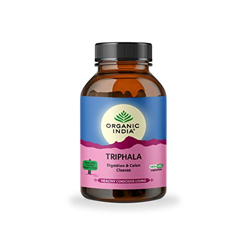 ORGANIC INDIA Triphala Ayurvedic Capsules || Improve Digestion & Colon Cleanse ||Constipation Acidity IBS and Gastric Issues||Vitamin C & Antioxidants - 180 N Veg Capsules