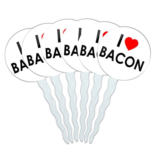 Set of 6 Cupcake Picks Toppers Decoration I Love Heart - Bacon