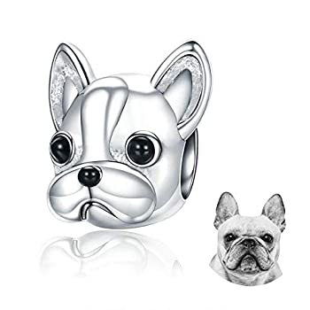 FOREVER QUEEN Dog Charm 925 Sterling Silver Cute Loyal Partners French Bulldog Doggy Animal Pet Bead Charms fit Charms for Pandora Bracelets Jewelry Animal Lovers…