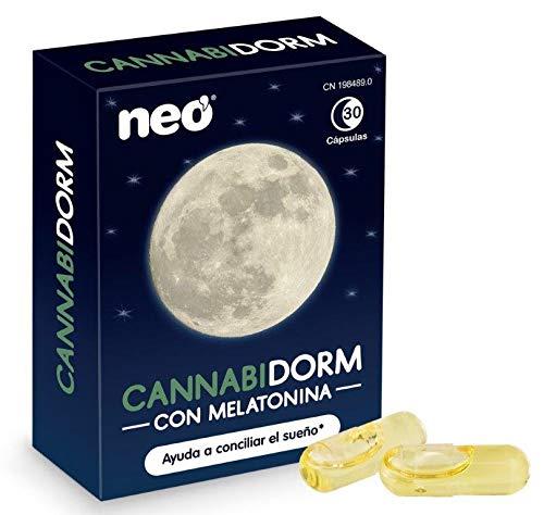 Neo - Cannabidorm con Aceite de Cáñamo y Melatonina | Suplemento para Mejorar la calidad del sueño - Comprimidos para dormir - 30 cápsulas