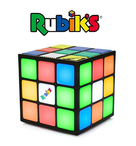 Rubik's Cube Portable Bluetooth Speaker w/Built-in Microphone, Loud Stereo Sound Flashes to Music Beats, 26' Bluetooth Range, Wireless Speaker for iPhone, Google, Huawei, Samsung and More