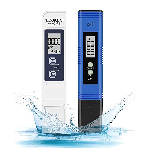 Eletorot Medidor de pH Digital, Electrónico Medidor PH tds y Cloro Piscinas 4 en 1 Comprobador Electrónico de Calidad del Agua Kit de Prueba para Piscina, Acuario (Azul)