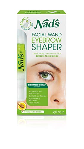 Nad's Eyebrow Shaper Wax Kit - Eyebrow Facial Hair Removal For Women - At Home Waxing Kit For Delicate Facial Areas - Eyebrow Shaper + Cotton Strips + Cleansing Wipes