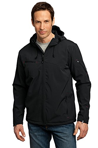 Port Authority Men's Textured Hooded Soft Shell Jacket L Black/Engine Red