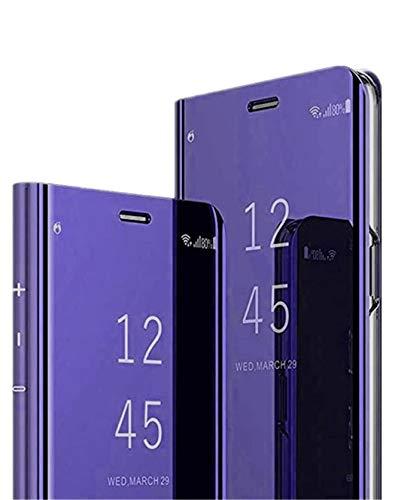 Jacyren Compatible con Samsung Galaxy A42, funda de piel con tapa para Galaxy A42, efecto espejo, funda para teléfono móvil 360°, policarbonato translúcido, antigolpes, función atril, A42, color lila