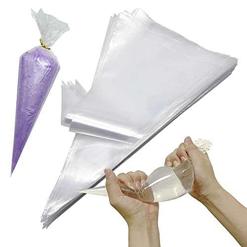 Piping Bags 100 Pcs 16 Inch Disposable Pastry Bags,POQOD Thick Anti Burst Cupcake Icing Bags For All Size Tips Couplers