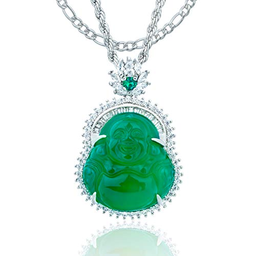 ZenBless Rhinestones Crystals Buddha Cubic Zirconia Necklace Green Agate Jasper Stone Laughing Buddha Necklaces for Women Stainless Steel Plated Sterling Silver Chain Good Luck Auspicious Beginning
