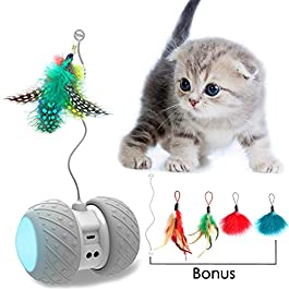AONKEY Robotic Interactive Cat Toy, Attached with Feathers, Automatic Irregular Moving LED Light Ball Toys for Kitten/Cats, All Floors/Carpet Available, Large Capacity Battery, Upgraded USB Charging
