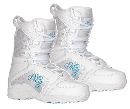 Millinium M3 Venus Snowboard Boots White Blue Girls Youth Sizes 4,5 or 6 (White Blue, Girls Youth 5)