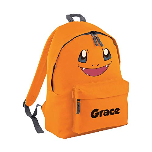 Pokemon Character Backpack - Kids TV Show Favourite Ash Ketchum Anime Series Quality Product Stitching Padded Shoulder Straps Tension Resistant 100% Polyester (Charmander, Personalised)
