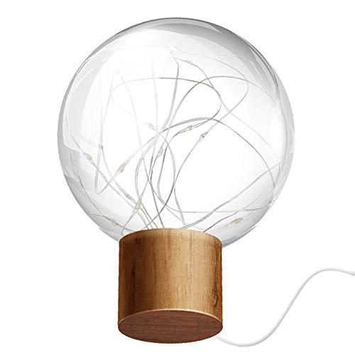 Rehomy Luz de escritorio LED de forma redonda USB LED luz de noche para casa mesita de noche