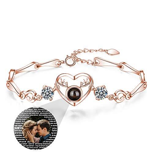 Personalized Photo Bracelet 100 Kinds Of I Love You Bracelet Projection Bracelet Love Bracelet Ladies Bracelet(Rose Gold Full Color 15.5+3.5cm/6.1+1.38 IN)