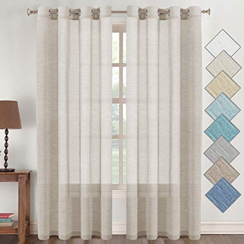 Flamingo P Natural Linen Blended Curtains 84 Inches Length 2 Panels Textured Woven Linen Sheer Curtain Drapes for Living Room/Bedroom Light Filtering Casual Window Grommet Draperies - Natural