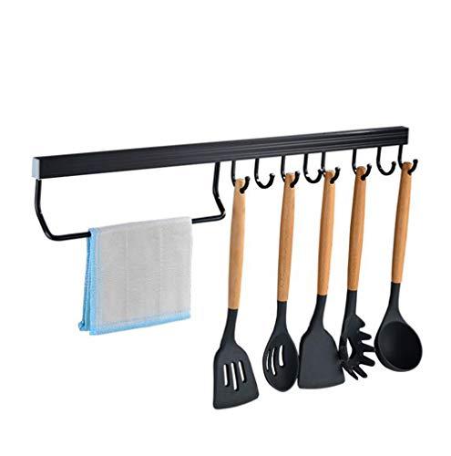 ZSJZHB Punch-Free Kitchen Hanging Rod Wall Hanging, Space Aluminum Pot Shovel Hook, Multi-Function Activity Hook Type, Row Hook Rack Hanger, Kitchen Rack