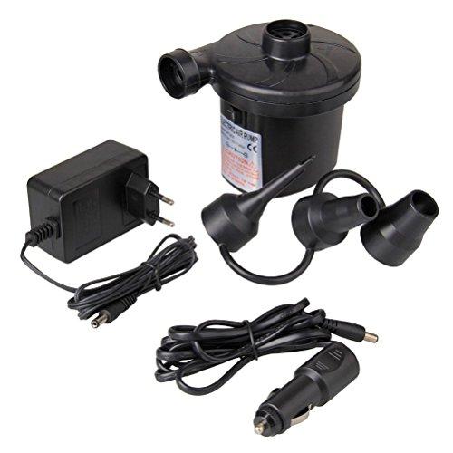 Elektrische Luftpumpe, AC 230V EU Stecker/ DC 12V Auto Elektropumpe Power Pump mit 3 Luftdüse für aufblasbare Matratze, Kissen, Bett, Boot, Schwimmring
