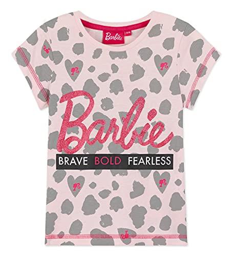 Barbie Camiseta De Niña, Ropa Niña Casual De Verano, Camisetas de Manga Corta Rosa con Detalles De Brillantina, Regalos para Niñas y Adolescentes 2-13 años (Rosa, 12-13 años)