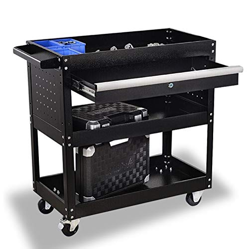 3 Tier Tool Cart Utility Carts with Wheels and Drawers, 330 LBS Capacity Industrial Service Cart, Steel Rolling Storage Cart Tool Organizers , Great for Warehouse, Garage, Cleaning, Office & More