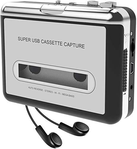 2020 nuovo-Portatile registratore a Cassetta & Audio Cassetta Nastro, Walkman e Convertitore di Audiocassette in File Digitali MP3 Via USB,Compatibile Mac e Windows-bianco