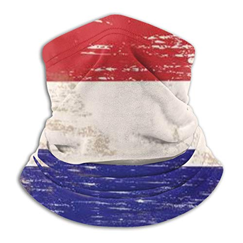 Netherlands Flag On Rusty Old Enamel Sign Neck Gaiter Tube Scarf UV Resistant Sport Headwear Cold Weather Winter Warmer Face Mask for Unisex Outdoor Fishing Hiking Running Cycling Balaclavas