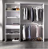HABITMOBEL Vestidor Ropero para Dormitorio o Recibidor 5 Huecos y un Cajon Alto: 187 cm x Fondo: 40 cm x Ancho Extensible 110...