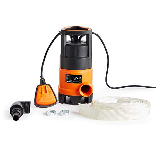 VonHaus Submersible Water Pump with 8m Hose (400W) - Includes Jubilee Clips - Drain Dirty or Clean Water from Pond, Swimming Pool, Hot Tub, Flooded Cellar - with Float Switch & Hose Connector