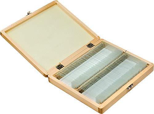 BARSKA 100-Piece Prepared Microscope Slides with Wooden Case, AF11944