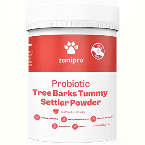 Zanipro 100% Natural Probiotic for Dogs - 150g Tree Barks Tummy Powder - Daily Digestive Fibre Supplement - Slippery Elm for Constipation & Diarrhea Relief - Healthy Stomach Enzymes