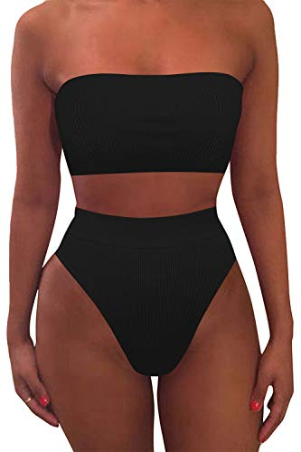 Pink Queen Women's Removable Strap Pad High Waisted Ribbed Bikini Black Size XL