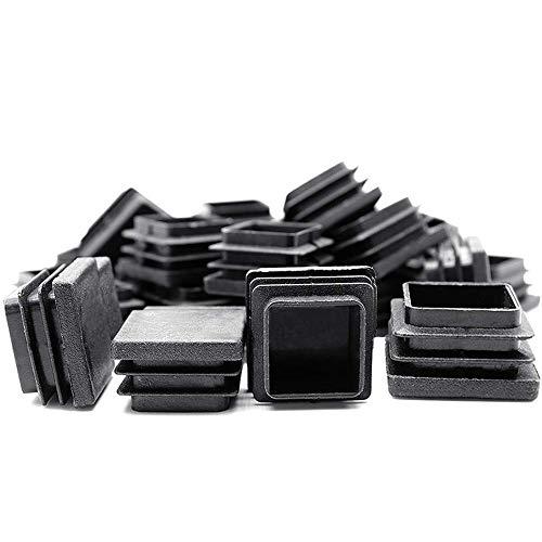HOMEKNOBS - Tapón cuadrado de plástico (32 mm x 32 mm), 12 unidades, color negro