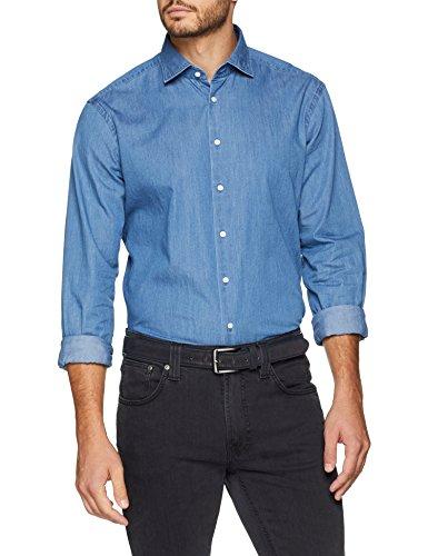 Seidensticker Herren Modern Langarm mit Kent Soft Uni Denim Optik Smart Business-weicher Kragen Jeanshemd, Blau (Blau 14), Kragenweite: 39 cm