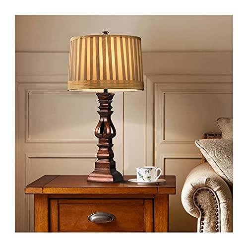 Lámpara para mesita Lámpara de mesa rústica Estilo país americano Luz Marrón Mano plegado a mano Sombra de tambor para sala de estar Lámparas de escritorio de resina de noche Lámparas de la casa Lámpa