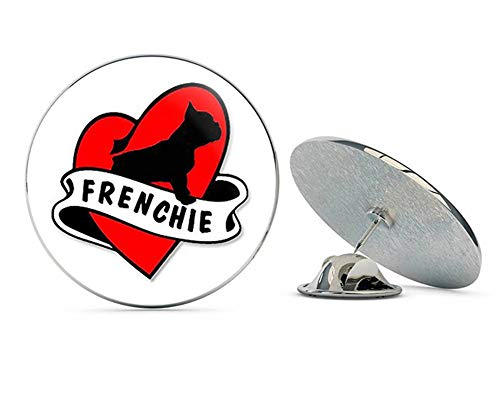 NYC Jewelers Heart and Banner Shaped Frenchie (Dog Love French Bulldog) Metal 0.75' Lapel Hat Pin Tie Tack Pinback