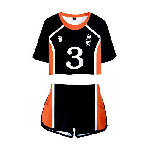 Haikyuu!! Damen T-Shirts und Short Sets Cosplay Sportswear Suit für Mädchen