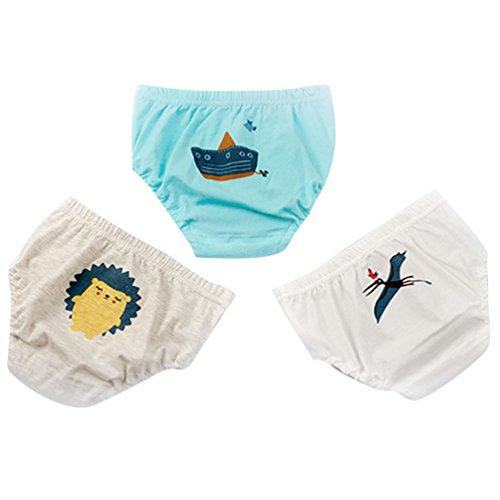 JEELINBORE JEELINBORE Baby Jungen Weich Höschen Unterhosen Cartoon Panties Briefs Slips Trainerhosen Unterwäsche, 3er Pack   für 1-5 Jahre (Schiff (3PCS), 110)