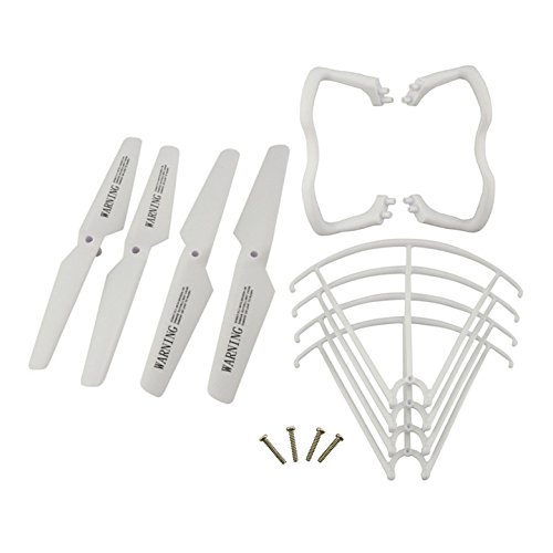Upgraded Spare Parts for Syma X5 X5C X5C-1 RC Mini Quadcopter Toy Main Blade Propellers Propeller Protectors Blades Frame Landing Skid Included Mounting Screws Set White